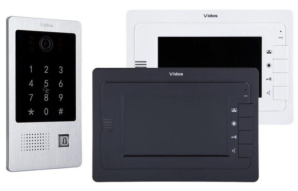 Wideodomofon Vidos S20DA M323 z dwoma monitorami, czytnikiem i szyfratorem
