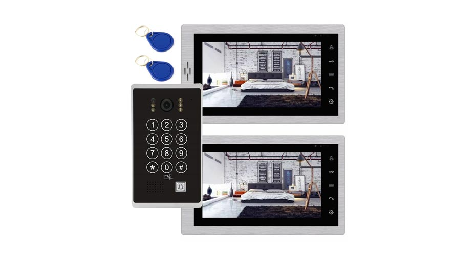 Wideodomofon dwa monitory czytnik szyfrator M708 84213