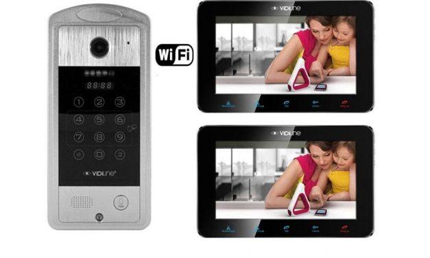 Zestaw wideodomofon IP VidiLine MVDP-7SL-B z dwoma monitorami, czytnikiem i  szyfratorem