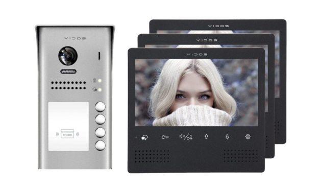 Wideodomofon 3-rodzinny Vidos S1104A M1023B z Czytnikiem – Natynkowy